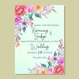 Tarjeta de invitación de boda con flor de acuarela