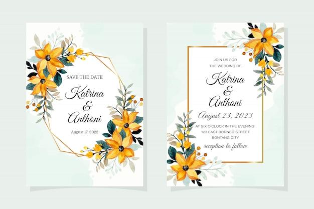 Tarjeta de invitación de boda con flor amarilla acuarela
