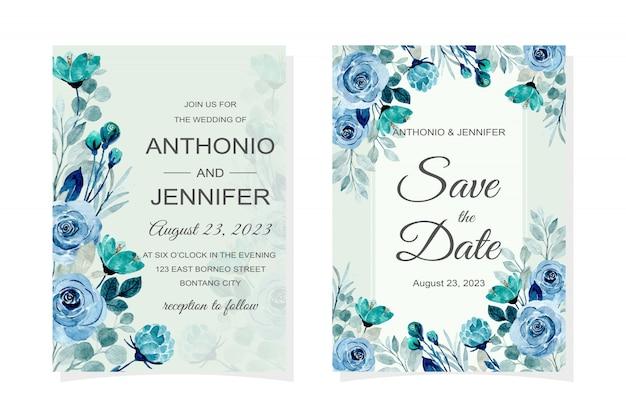 Tarjeta de invitación de boda con flor azul acuarela
