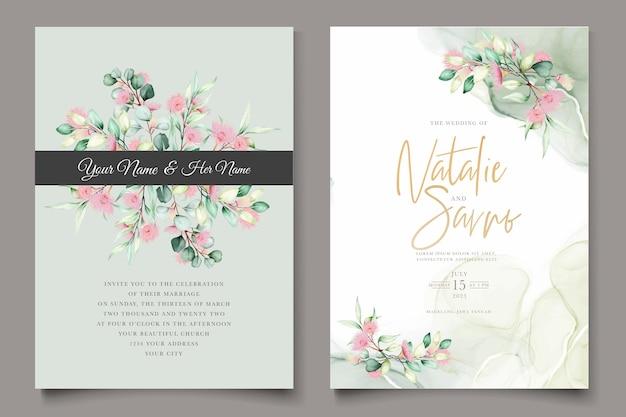 Tarjeta de invitación de boda de flor de eucalipto