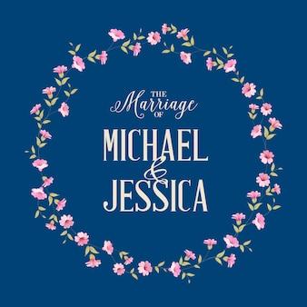 Tarjeta de invitación de boda con flor floreciente.
