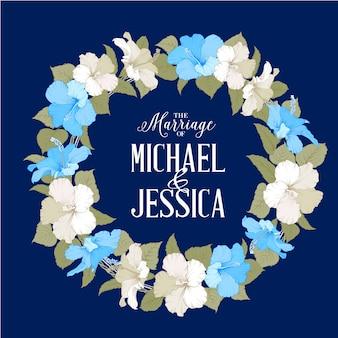 Tarjeta de invitación de boda con flor de hibisco.