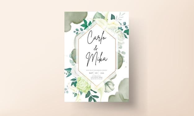 Tarjeta de invitación de boda de flor de lirio y rosa de lujo verde