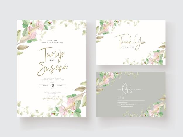 Tarjeta de invitación de boda de flor de lirio