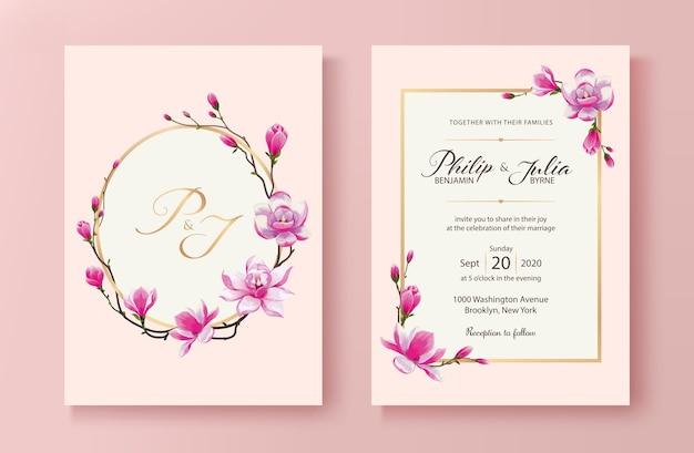 Tarjeta de invitación de boda de flor magnolia.
