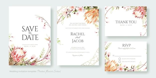 Tarjeta de invitación de boda con flor de protea, ahorre la fecha, gracias, plantilla de rsvp.