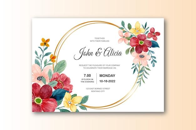Tarjeta de invitación de boda con flor roja acuarela