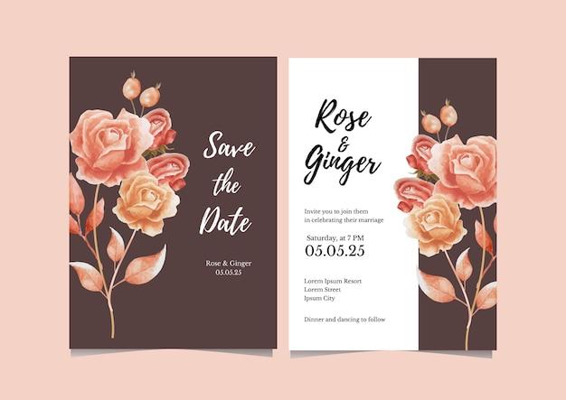 Tarjeta de invitación de boda de flor seca marrón