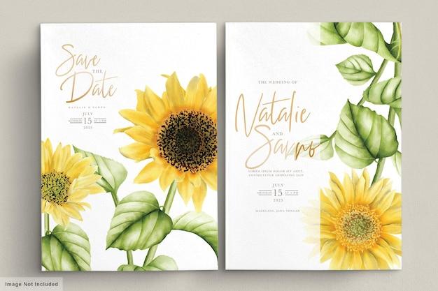 Tarjeta de invitación de boda de flor de sol acuarela