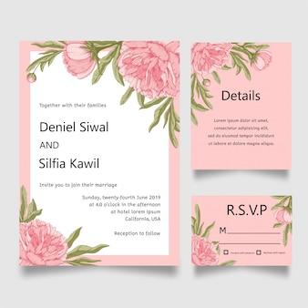 Tarjeta de invitación de la boda de la flor