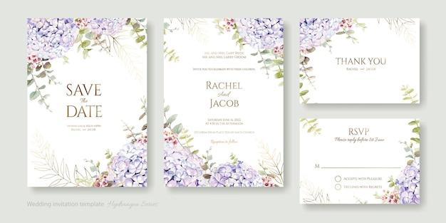 Tarjeta de invitación de boda floral ahorre la fecha gracias plantilla de rsvp flor de hortensia con vegetación