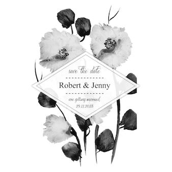 Tarjeta de invitación de boda floral blanco y negro acuarela