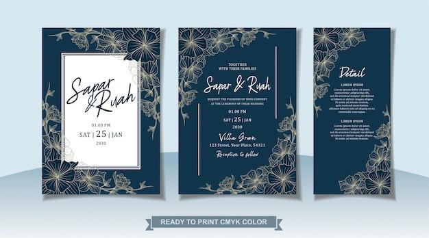 Tarjeta de invitación de boda floral con boceto de lujo elegante
