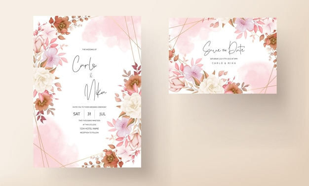 Tarjeta de invitación de boda floral boho