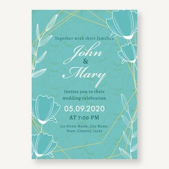 Tarjeta de invitación de boda floral en color turquesa con detalles del evento.