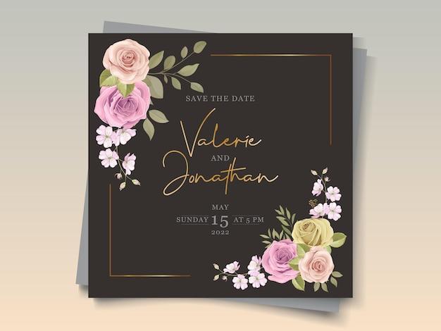 Tarjeta de invitación de boda floral colorida suave elegante