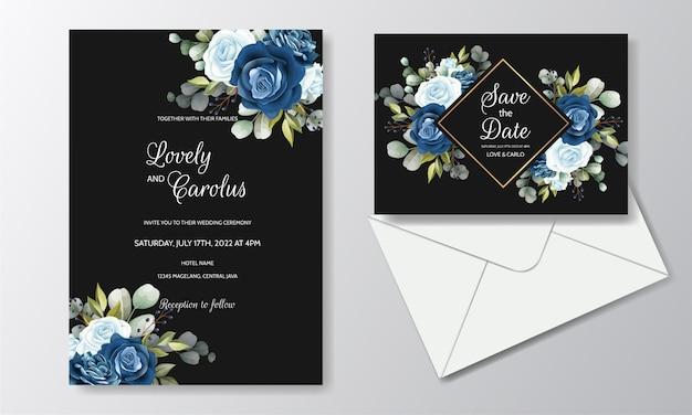 Tarjeta de invitación de boda floral dibujado a mano hermosa
