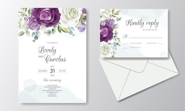 Tarjeta de invitación de boda floral dibujado a mano