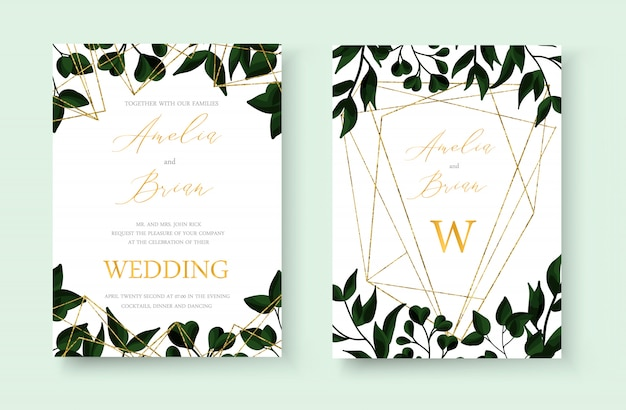 Tarjeta de invitación de boda floral dorada guardar el diseño de la fecha con hierbas de hoja verde tropical con marco geométrico triangular de oro. estilo decorativo botánico elegante vector acuarela de estilo