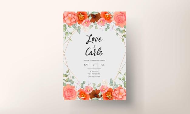 Tarjeta de invitación de boda floral elegante dibujada a mano