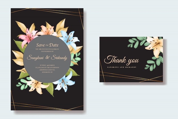 Tarjeta de invitación de boda floral elegante