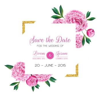 Tarjeta de invitación de boda floral con flores de peonía