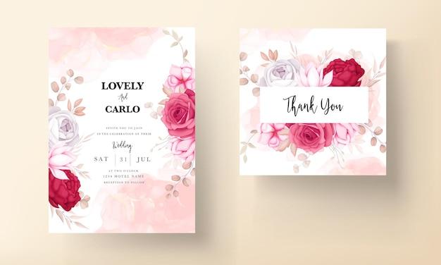 Tarjeta de invitación de boda floral granate dibujada a mano romántica