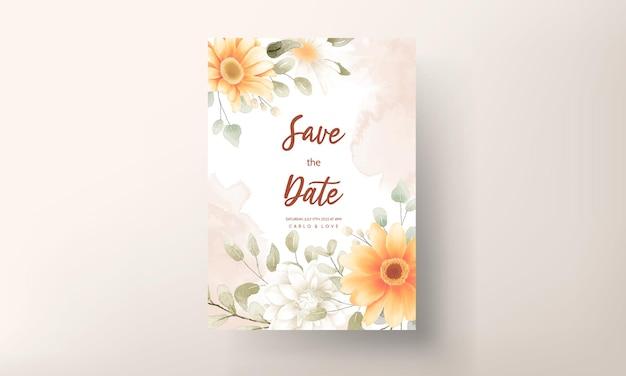 Tarjeta de invitación de boda floral hermosa acuarela