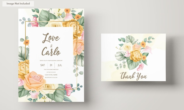 Tarjeta de invitación de boda floral hermosa dibujada a mano