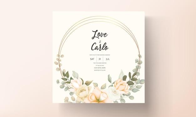 Tarjeta de invitación de boda floral hermosa