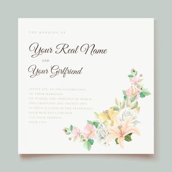 Tarjeta de invitación de boda floral lily
