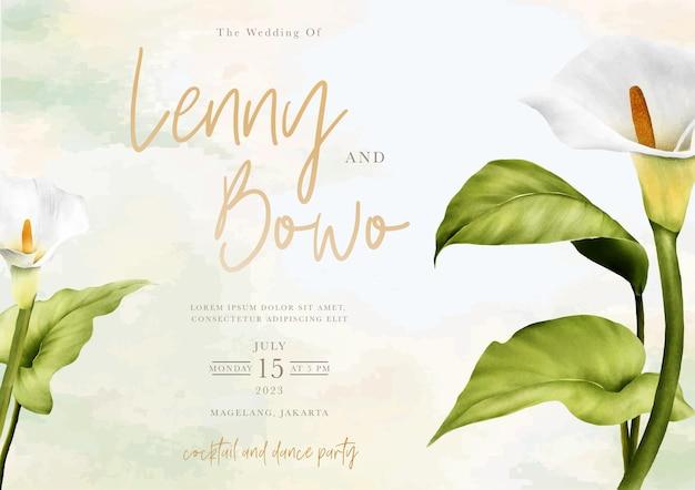 Tarjeta de invitación de boda floral de lirio dibujado a mano
