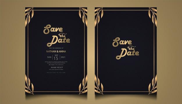 Tarjeta de invitación de boda floral de lujo diseño premium
