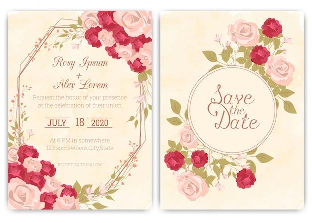 Tarjeta de invitación de boda floral marco dibujado a mano