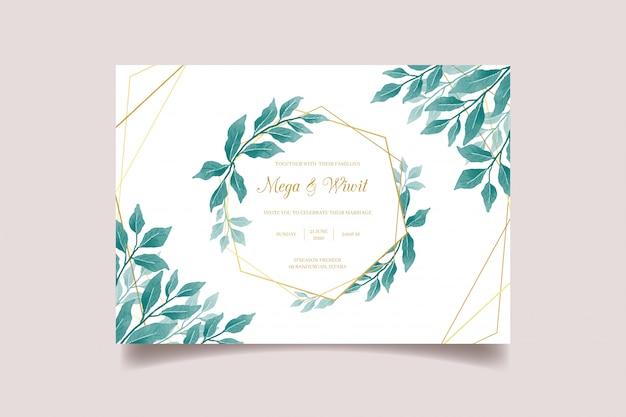 Tarjeta de invitación de boda floral con marco dorado