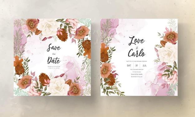 Tarjeta de invitación de boda floral de otoño con flor de rosa y pino