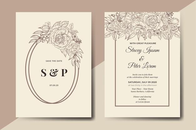 Tarjeta de invitación de boda floral vintage handdrawn