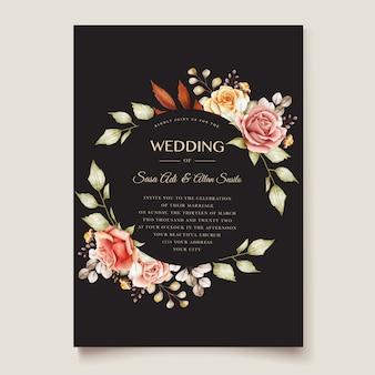 Tarjeta de invitación de boda floral