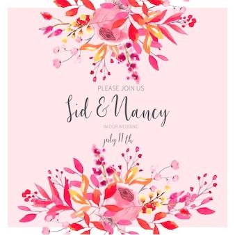 Tarjeta de invitación de boda con flores de acuarela