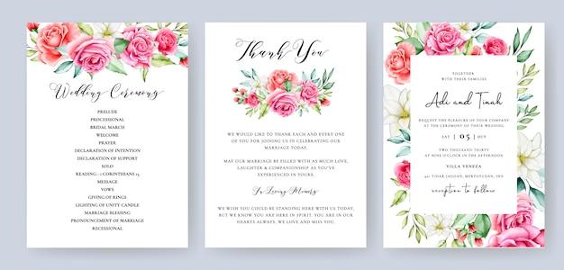 Tarjeta de invitación de boda con flores de colores y hojas