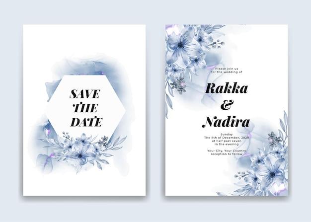 Tarjeta de invitación de boda con flores y formas de ondas azules