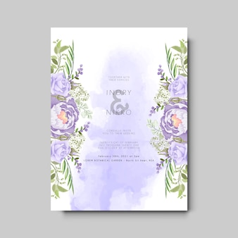 Tarjeta de invitación de boda con flores hermosas y artísticas