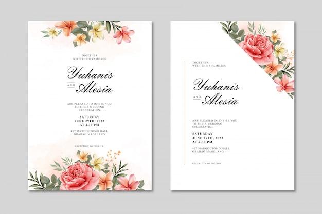 Tarjeta de invitación de boda con flores y hojas de acuarela