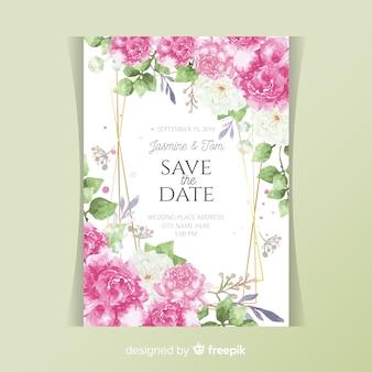 Tarjeta de invitación de boda con flores peonía