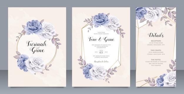 Tarjeta de invitación de boda de flores de peonías elegantes set diseño de plantilla