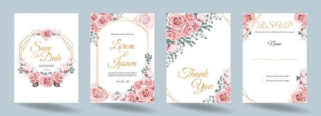 Tarjeta de invitación de boda con flores rosas y marco dorado.