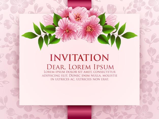 Tarjeta de invitación de boda con flores.