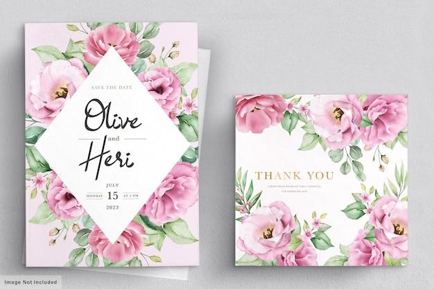 Tarjeta de invitación de boda con flores