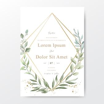 Tarjeta de invitación de boda con follaje