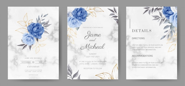 Tarjeta de invitación de boda con fondo de mármol. color rosa en azul marino. acuarela pintada. juego de tarjetas tamplate.